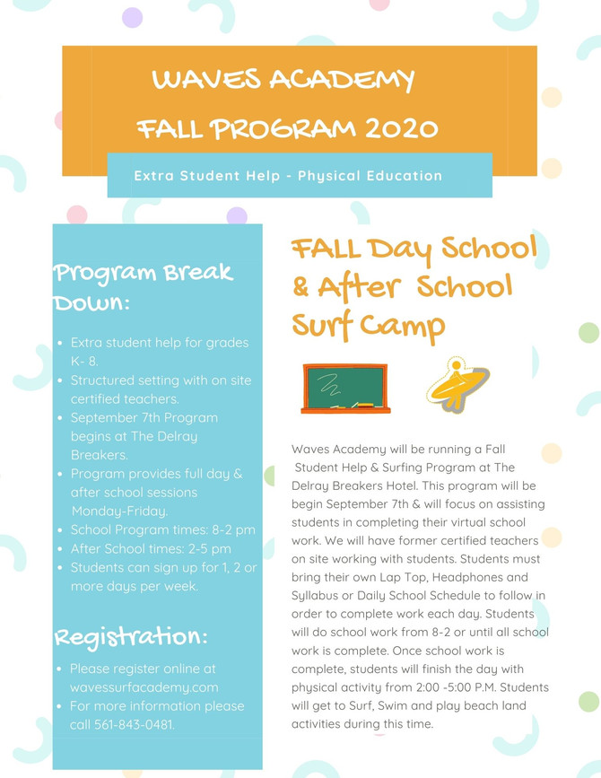 UPDATE: FALL 2020 SCHOOL & SURF PROGRAM BEGINNING SEPTEMBER 7TH
