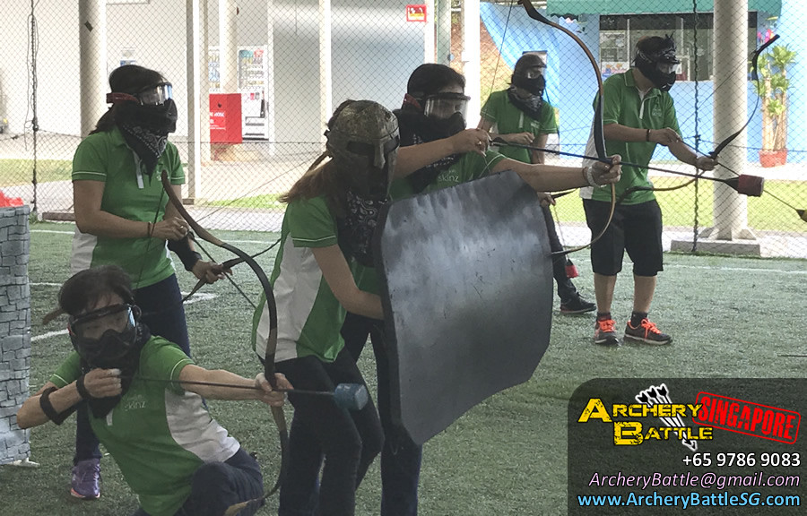 Spartan will shield you from arrows! Ladies, shoot! Archery Tag Singapore