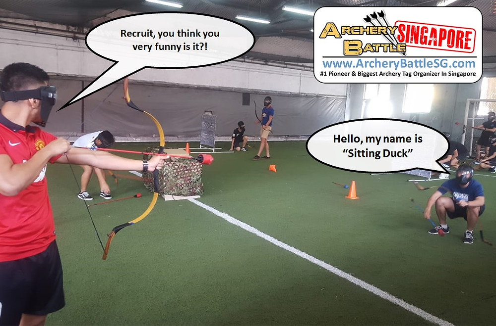 Sitting Duck in Archery Tag Singapore team building