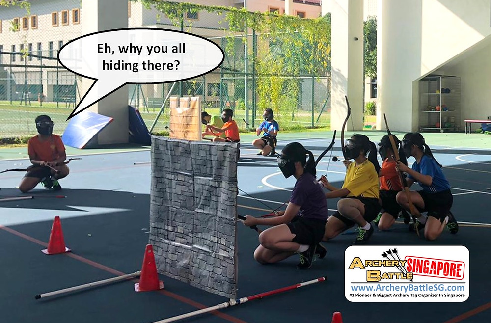 Obstacles for hiding in Archery Tag Singapore team building