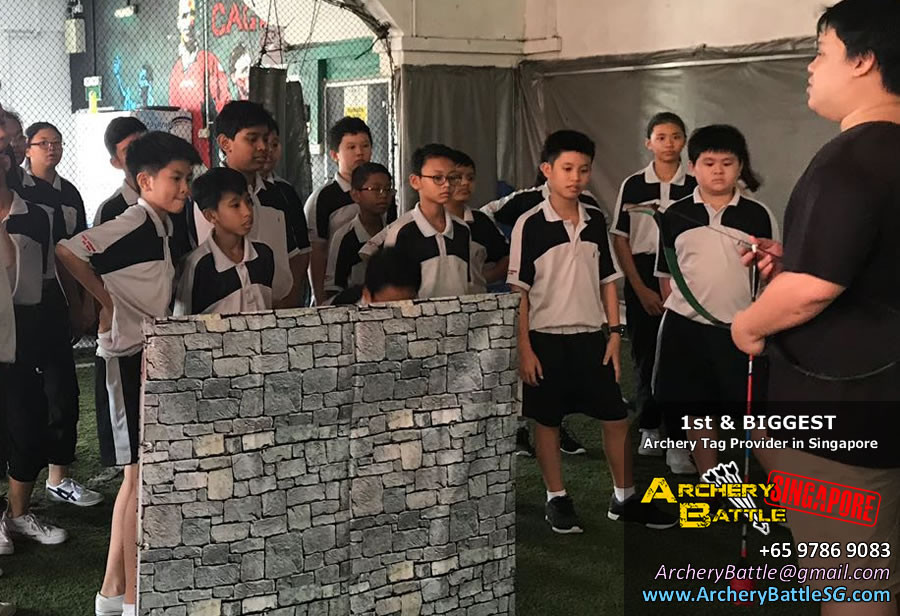 Briefing for students by Archery Tag Singapore