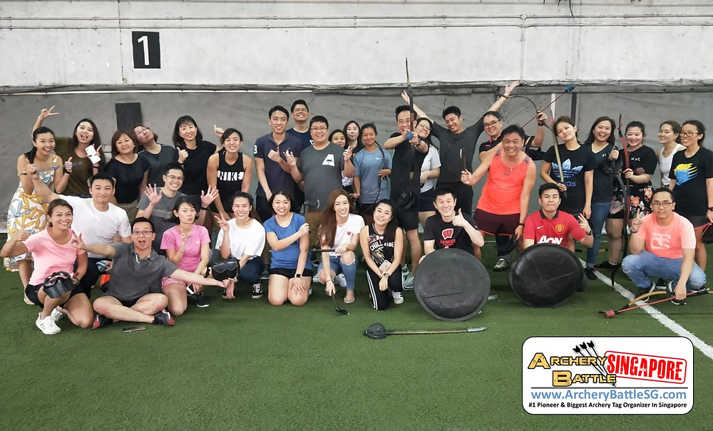 Group Photo after a game Archery Tag Singapore