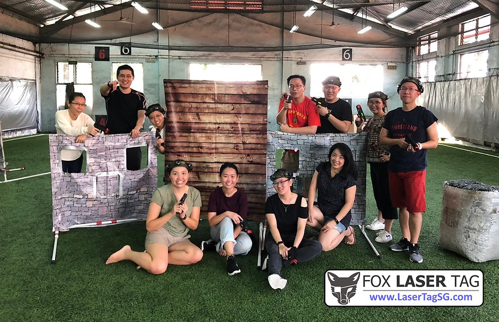 Team photo in a Singapore Laser Tag cohesion event