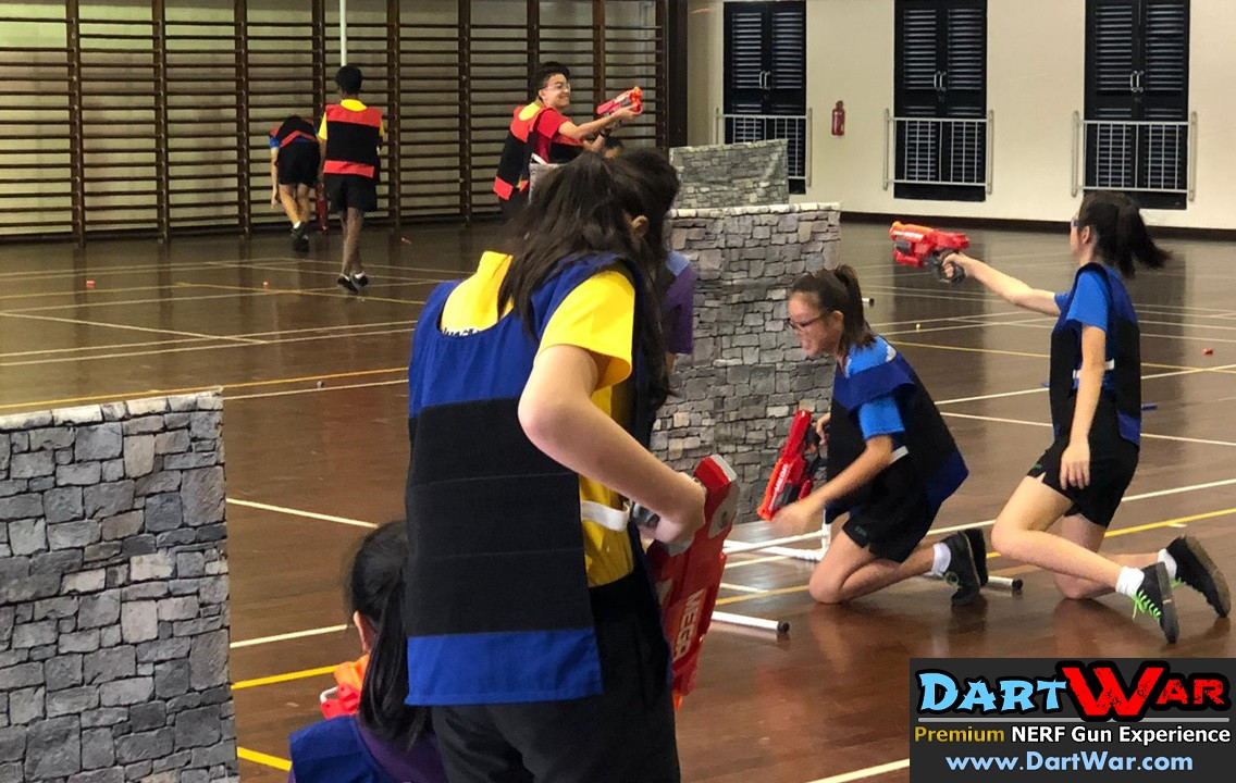 NERF Gun Battle in the school hall!