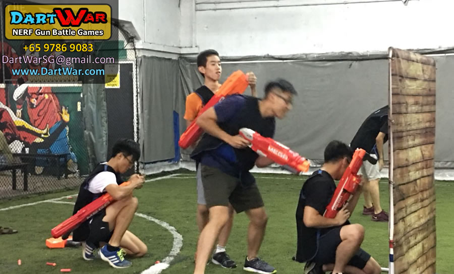 Taking Cover in a NERF Dart War Singapore event