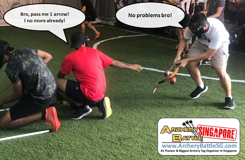 Teamwork and sharing arrows in Archery Tag Singapore