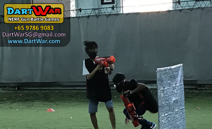 Cover me while I reload! Dart War NERF Birthday Party Singapore