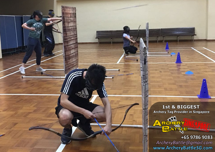 Changi Airport Archery Tag hiding behind obstacles