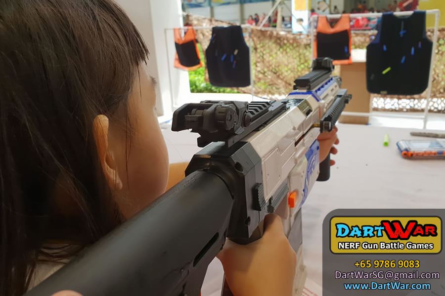 We used Velcro Darts so that it will stick onto the target - NERF Shooting Booth at Punggol