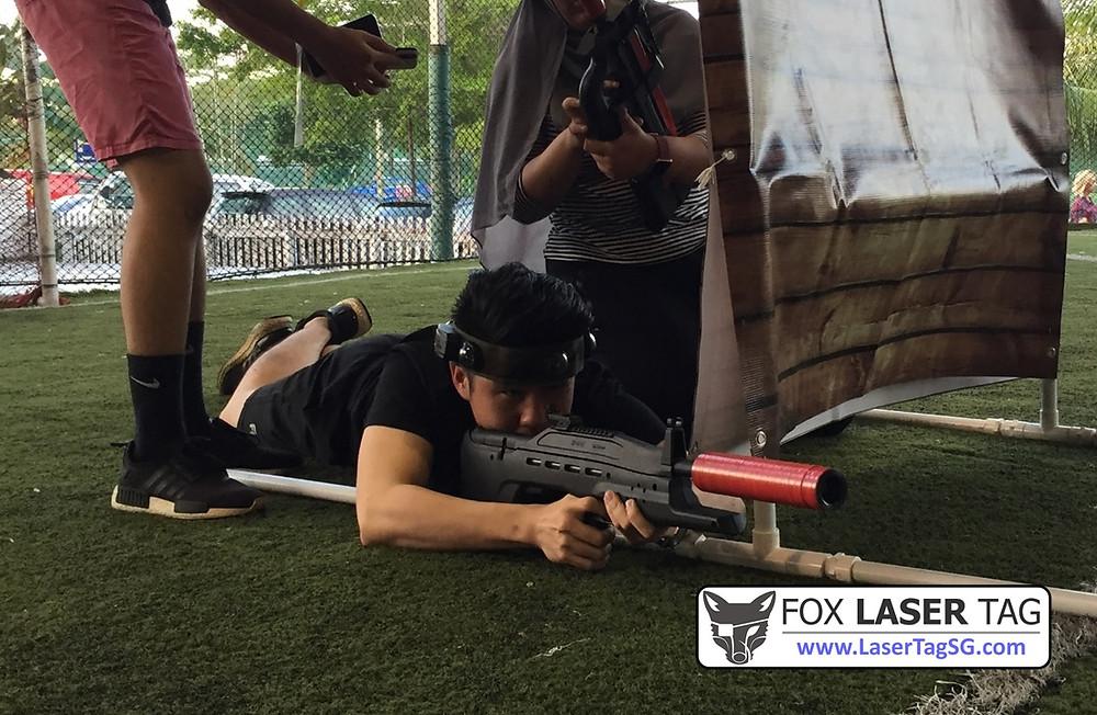 Laser Tag sniper proning