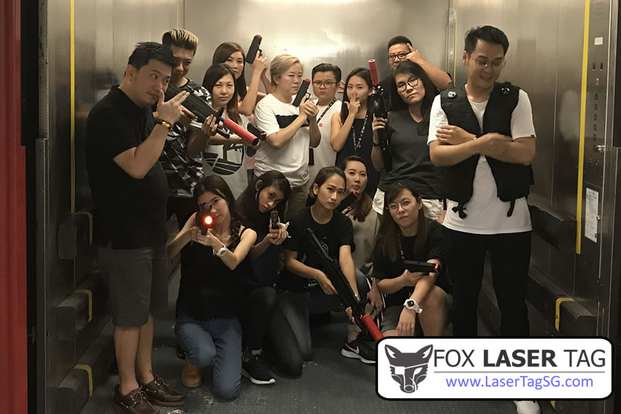 Laser Tag Singapore group photo in the office