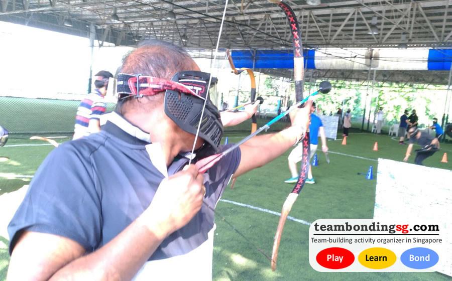 Archery Tag taking aim, by TeamBondingSG.com