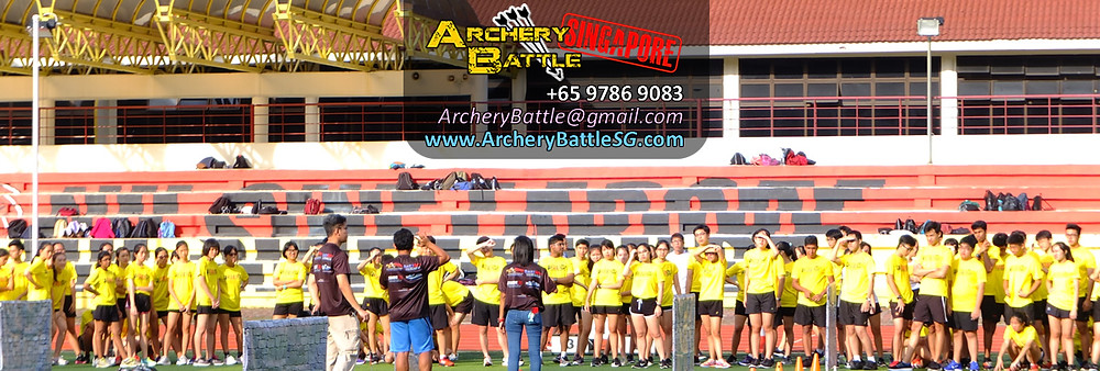 Briefing the students before the start of the Archery Tag games.