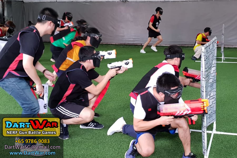 Red team with red guns and red Velcro Vests in NERF Rival Tag - Dart War Singapore