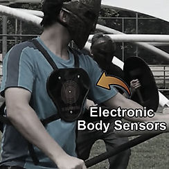 Electronic body sensors for scoring and tracking hits