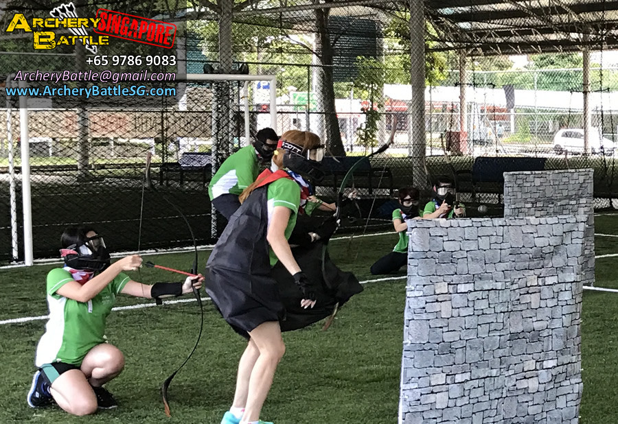 Lady warriors, calm in battle. Archery Tag Singapore