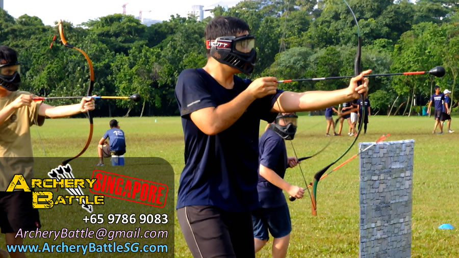 Slightly drizzle, no problems! | Archery Tag Singapore at West Coast Park