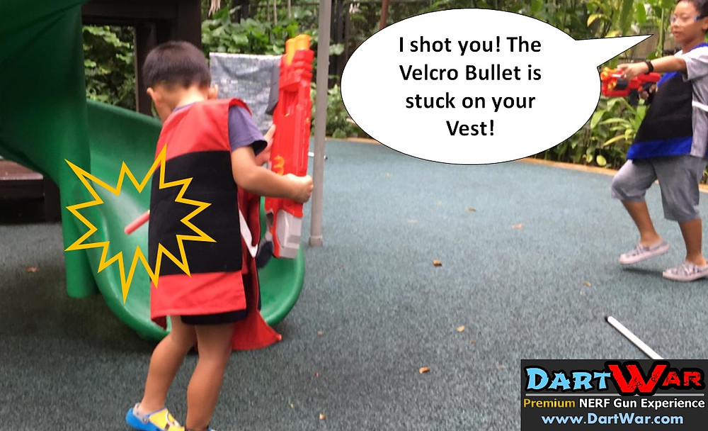 Velcro Bullet stuck on the Vest = you're shot!