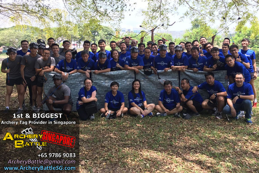 Group Photo of Archery Tag Singapore at Bedok Reservoir Park