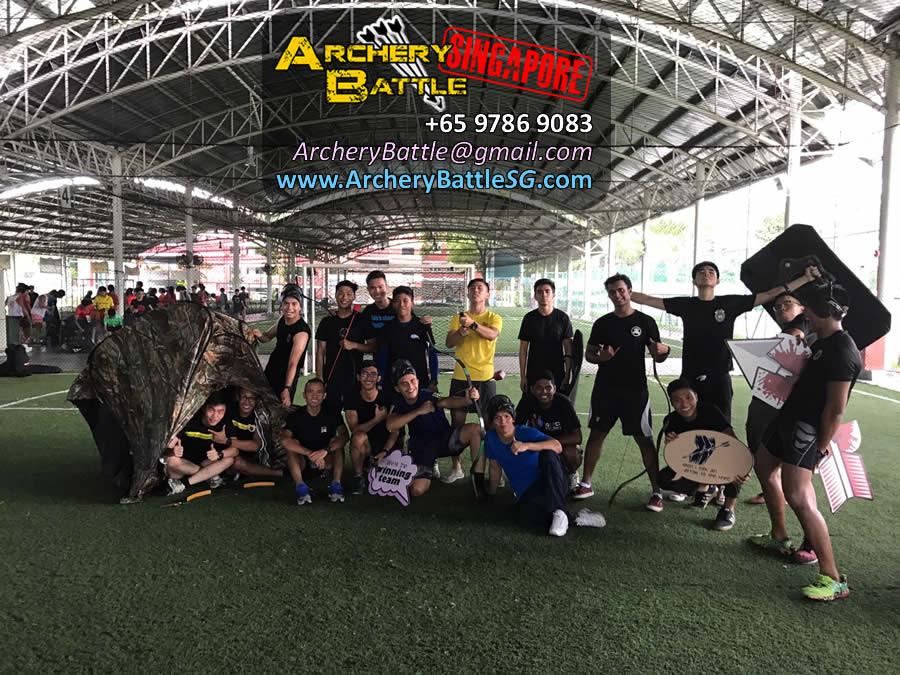 Archery Tag Singapore group photo at Kovan Sports Centre