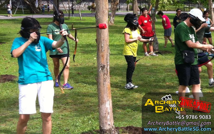 Shoot shoot shoot! Archery Tag Singapore for Methodist Girls' School at Changi Beach Park