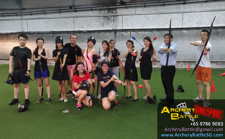 Group photo after the game | Archery Tag Singapore