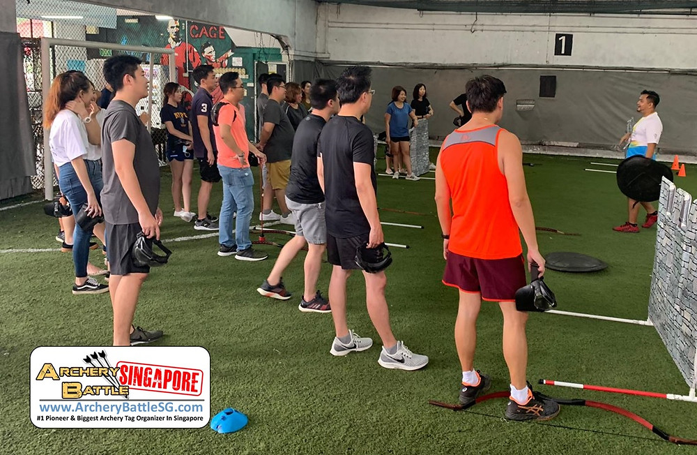 Safety briefing before the start of the game in Archery Tag Singapore