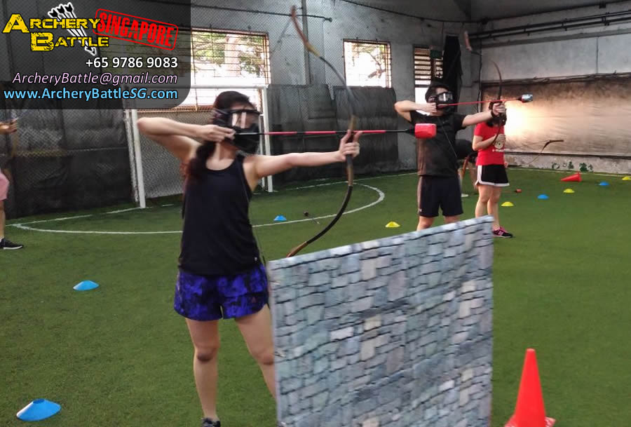 Shoot behind the wall! | Archery Tag Singapore