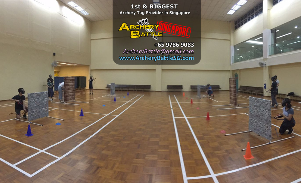 Changi Airport Archery Tag setup in sports hall