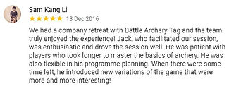 Review by Kang Li about company team building Archery Tag