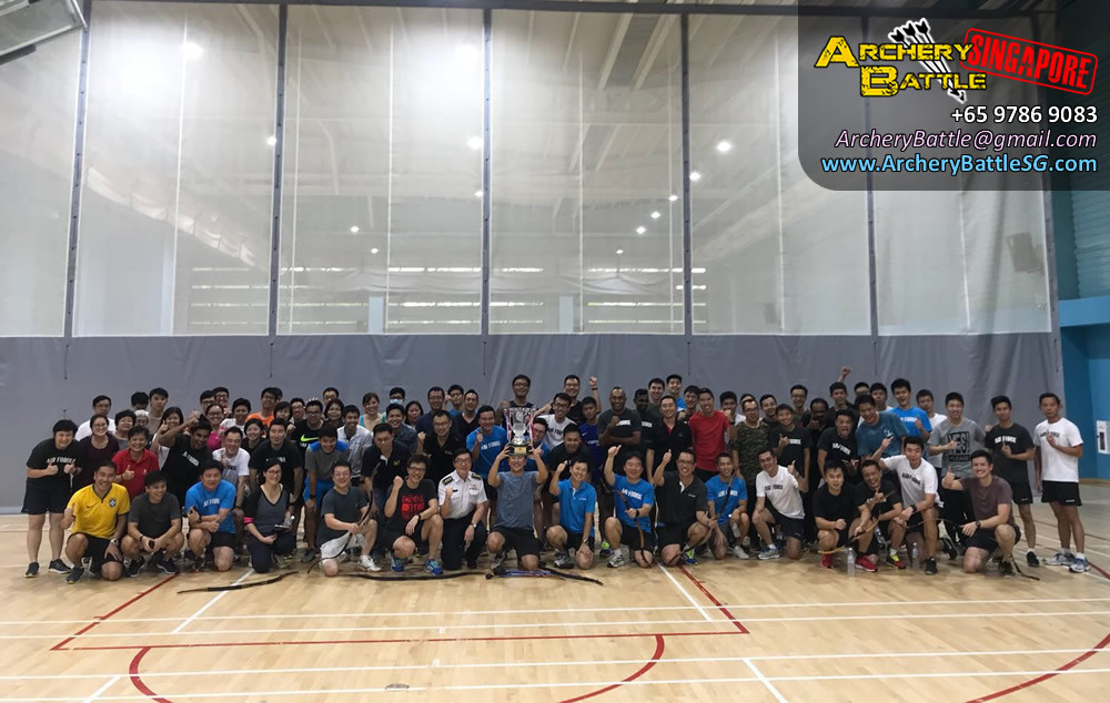 Champion team and group photo - Archery Tag Singapore