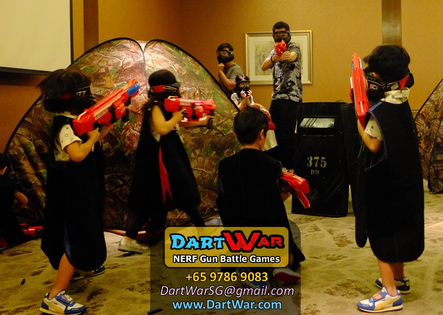 Take cover behind the shield! NERF Gun Battle Games for Birthday Party