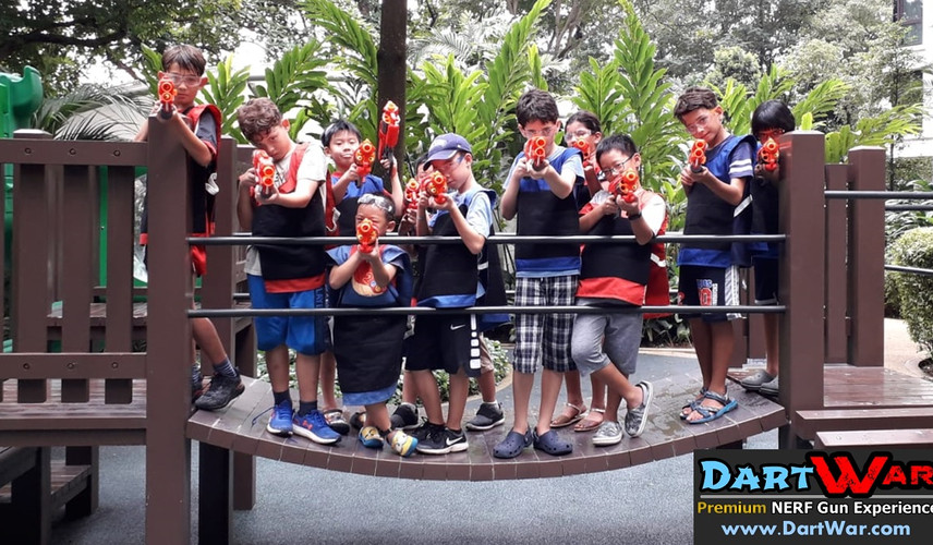 Group Photo for NERF Birthday Party Singapore
