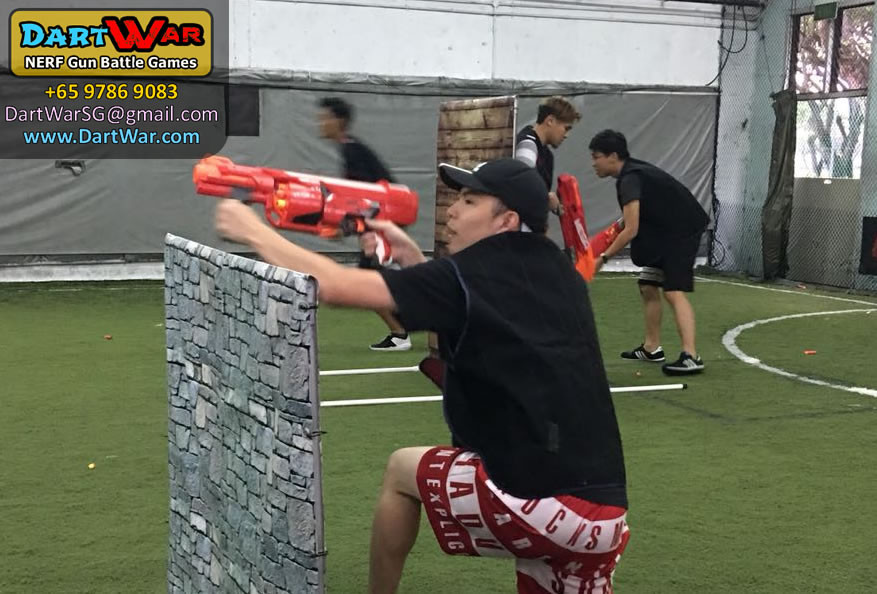 Tactical positions in a NERF Dart War Singapore event