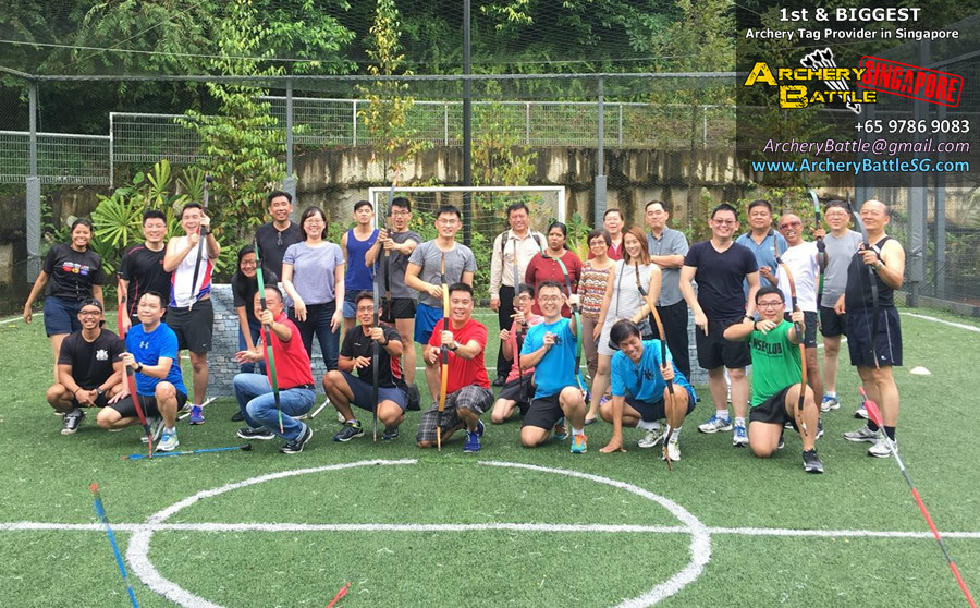 Archery Tag Singapore outdoor futsal pitch group photo