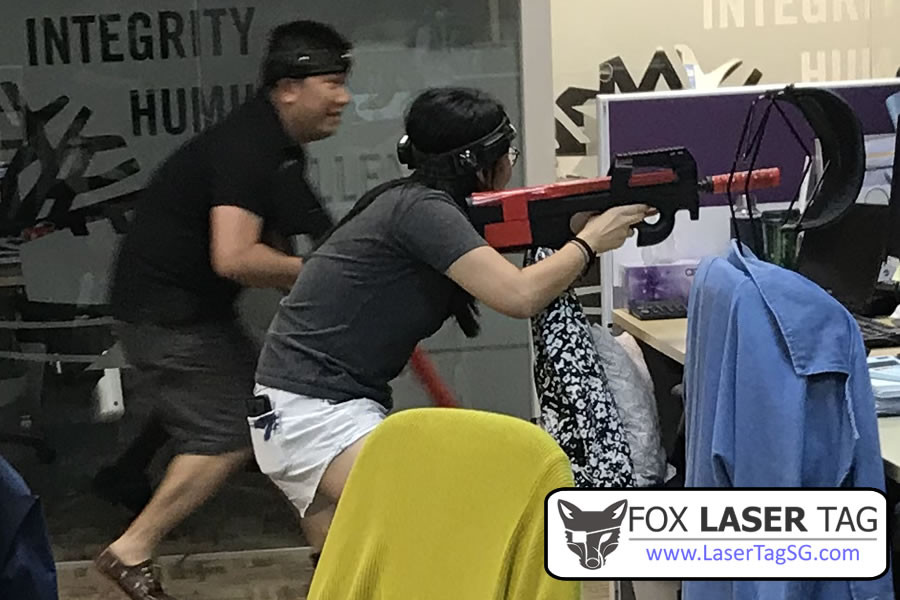 Laser Tag team building in the office in Singapore!