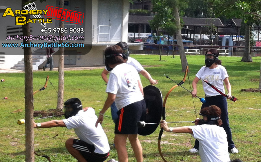 Take cover! Archery Tag Singapore for Methodist Girls' School at Changi Beach Park