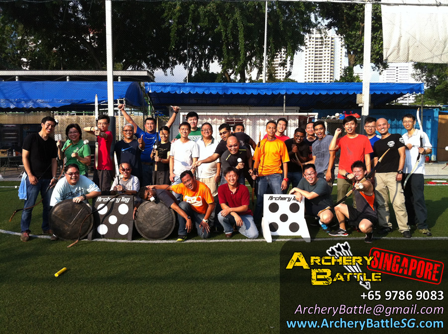 Group photo for Archery Tag for Ministry of Manpower Singapore