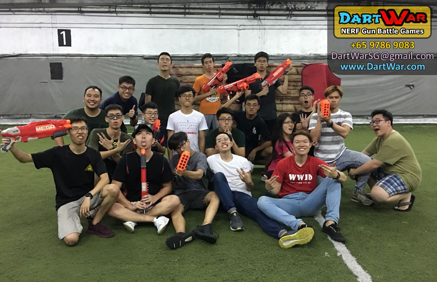Group photo in a NERF Dart War Singapore event