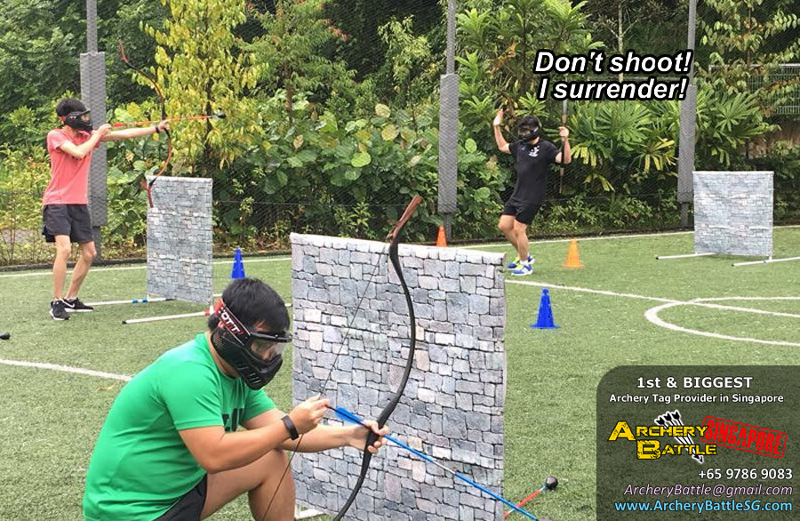 Surrender moment in an Archery Tag Singapore game