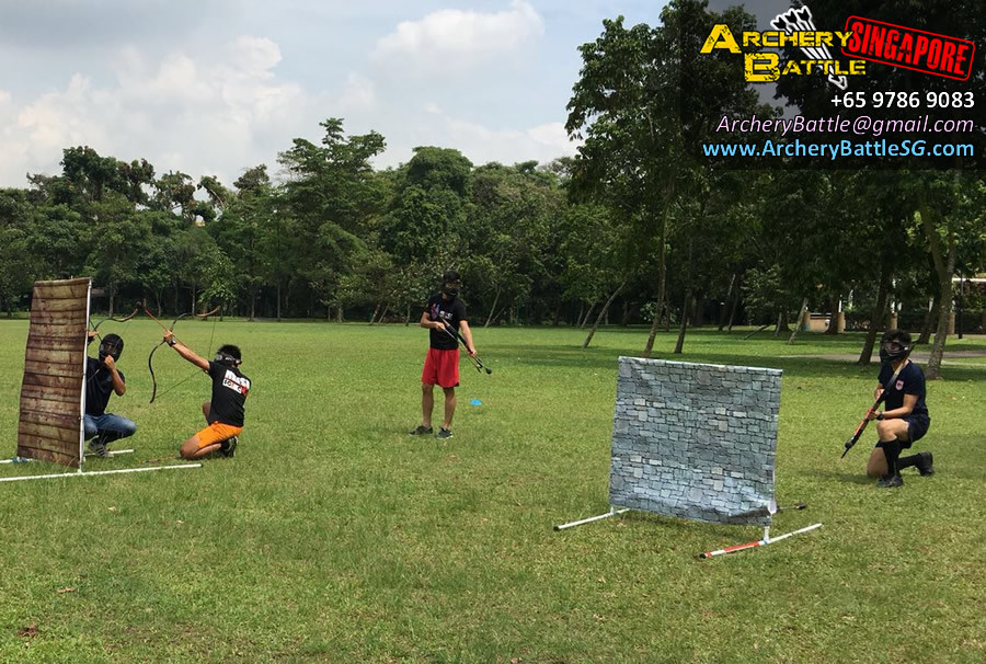 Standing in the open Archery Tag Singapore West Coast Park