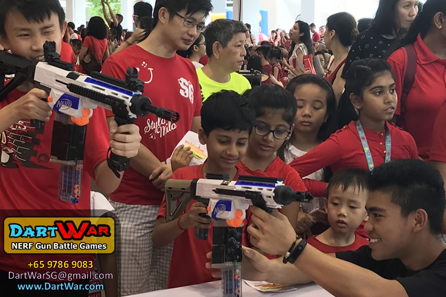We helped the kids to shoot - NERF Shooting Booth at Punggol