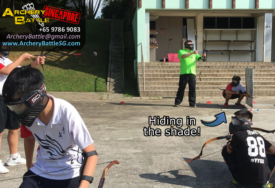 Hiding in the shade - Archery Tag Singapore