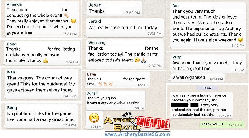 Reviews of Archery Tag Singapore on WhatsApp with previous clients