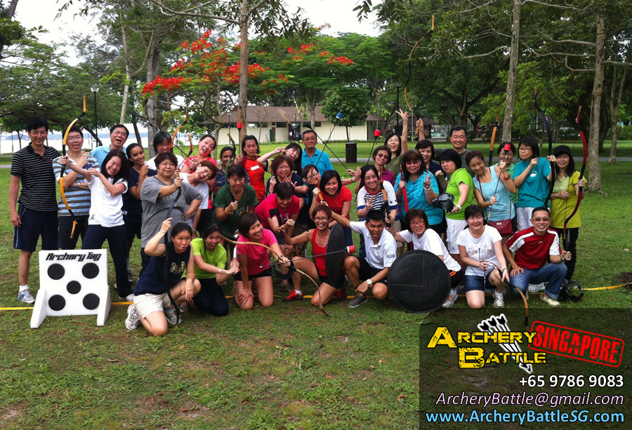 Group photo - Archery Tag Singapore for Methodist Girls' School at Changi Beach Park