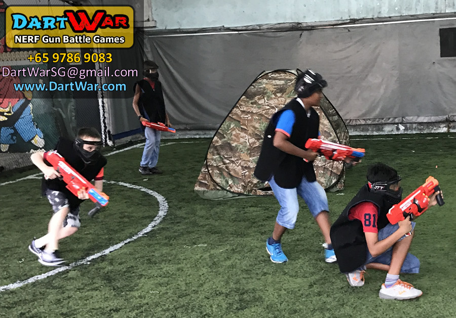 Blue Team in Action | Dart War NERF Birthday Party Singapore