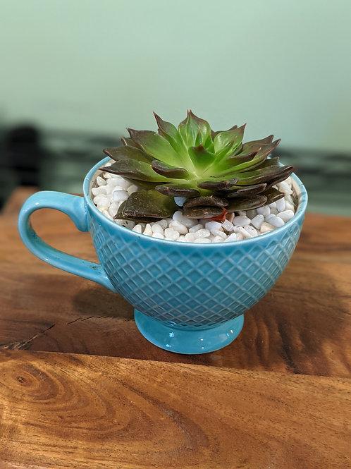 Teal Blue Cross Stitch Mug
