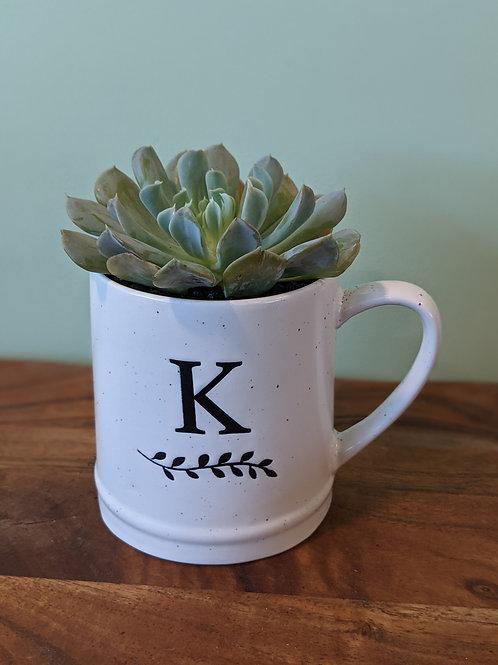 K - Initial Black & White Mug