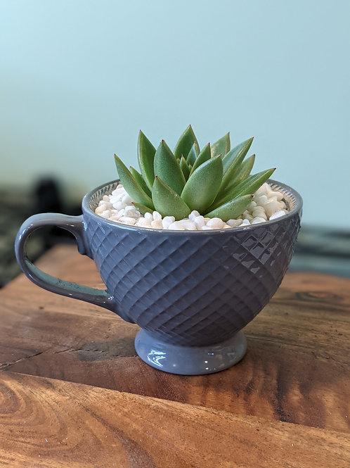 Dark Gray Cross Stitch Design Mug
