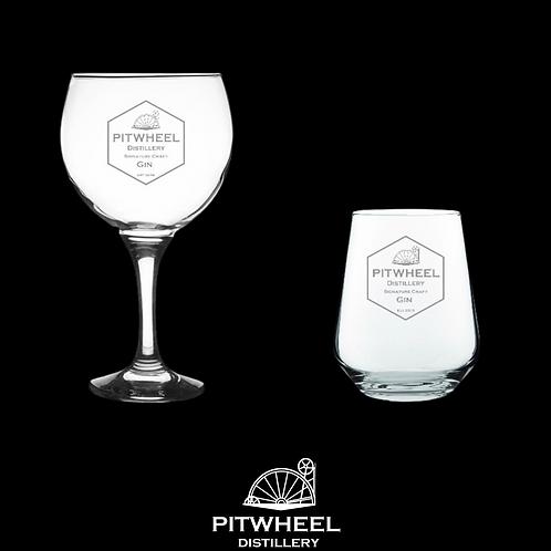 Pitwheel Engraved Gin Glass